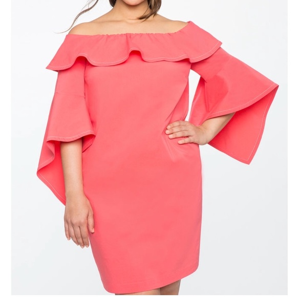 8e2ddcfaf73 NWT Eloquii Off-Shoulder Coral Plus Size Dress 20